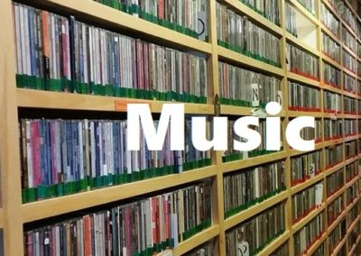 Music Text Over CD Wall